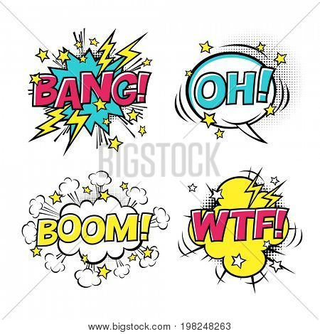 Comic speech bubbles set with different emotions and text BOOM, OH, BANG, WTF.  raster cartoon illustrations isolated on white background.