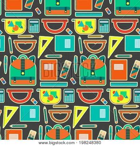 Cute bright school pattern with backpack, copybooks, pencils, pens, rulers. Nice contrast kids texture for textile, wrapping paper, wallpaper, bookstore banners and covers, background, design
