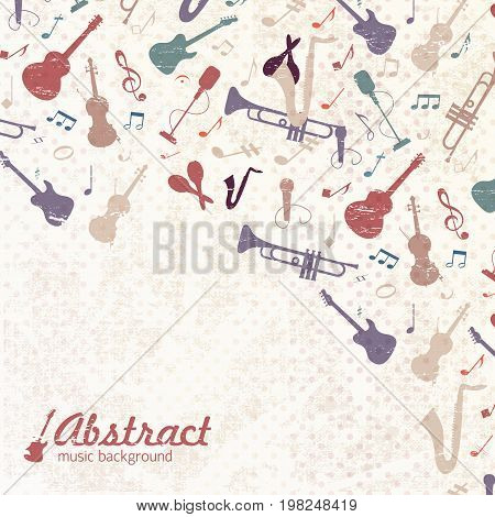 Left corner music background with musical attributes flying from the left corner at the top vector illustration