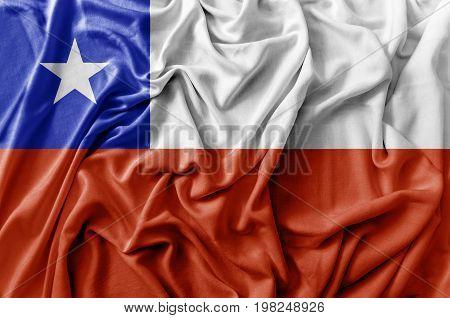 Ruffled waving Chile flag national flag close