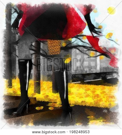 autum background, yellow leaves and image of abstract female legs with black boot