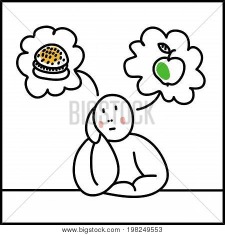 Girl thinking about hamburger and apple. Doubt or fast food concept.