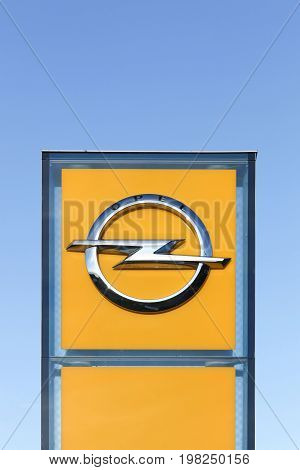 Odder, Denmark - September 6, 2015: Opel logo on a panel. Opel is a german automobile manufacturer headquartered in Russelsheim, Germany and a subsidiary of General Motors Company