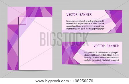 Cover and two banners geometric templates of bright fuchsia. Backgrounds with text place. Modern technology layouts for brochures, leaflets, posters, booklets, presentations, portfolio, annual reports, banners of web sites. Vector EPS 10 illustration