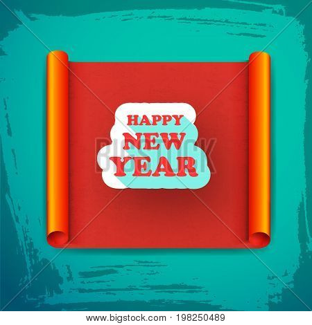 New year card with greeting on white cloud at red scroll on blue worn background vector illustration