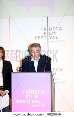 NEW YORK - APRIL 21 :Robert De Niro gives a speech at Tribeca Film Festival opening April 21, 2009 in New York. The festival was founded in 2002 by Jane Rosenthal and Robert De Niro.