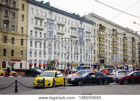 Cars Running On Street In Moscow, Russia
