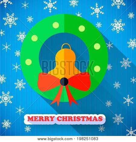 Merry Christmas colorful poster with jingle bell bow and snowflake on blue background vector illustration