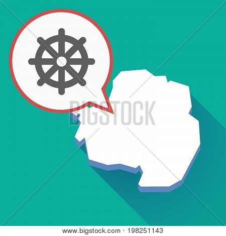 Long Shadow Antarctica Map With A Dharma Chakra Sign
