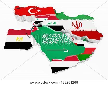 Middle East countries covered with country flags. 3D illustration.