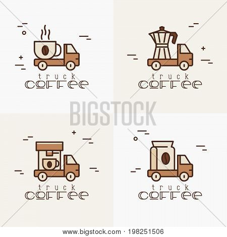 Four logos for street cafe contains coffee truck with thin line icons of coffee machine, coffee maker, bag and beans. Vector illustration.