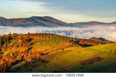 Rural Fields Over The Clouds In Mountains At Sunrise