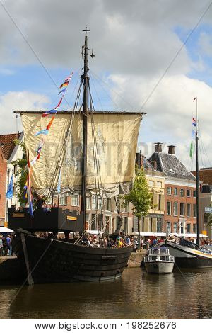 Groningen.July-29-2017. Historic Pirate boat at the Hoge der Aa in the city of Groningen. The Netherlands
