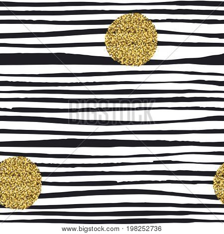 Golden, glitter dots. Grunge polka dots seamless pattern. Abstract vintage polka dot pattern. Black and gold background