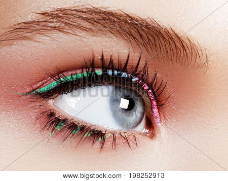 Beautiful Macro Shot Of Female Eye With Ceremonial Makeup. Perfect Shape Of Eyebrows, Eyeliner And P