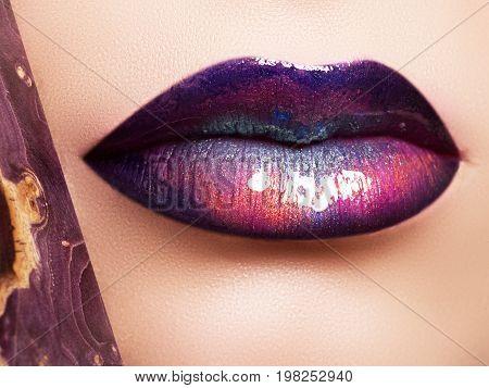 Fashion And Beauty. Creative Lip Makeup. Artistic Make-up. Beautiful Macro Shot Of Female Plump Lips