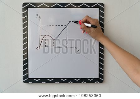 A girl is drawing a chart on a white board. Female hand with a marker.