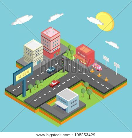 Isometric City Conceptual Design | Isomatric Design with hight quality vector | Use for business, marketing, concept and much more. The set can be used for several purposes like: websites, print templates, presentation templates, and promotional materials