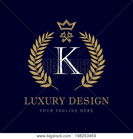 Luxury calligraphic letter K crown & key monogram logo. Laurel elegant beautiful round logo with crown and key. Vector letter emblem sign K for Royalty, Restaurant, Boutique, Hotel, Heraldic, Jewelry