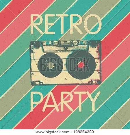 Retro music party poster design. Disco music vintage party invitation template.