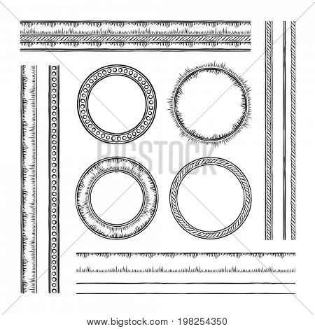 Set of round  raster frames and borders. Rope and dotted designs. Collection of brushes to design frames, borders and dividers. The brushes included