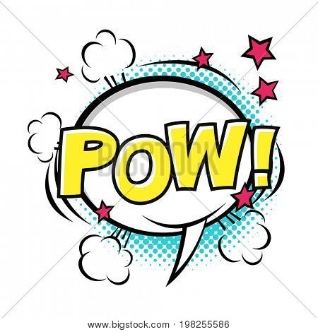 POW! Comic speech bubble, comic sound.  raster cartoon illustrations isolated on white background. Halftones, stars and other elements in separated layers.