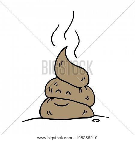 Poop icon. Funny cartoon character.  raster illustration
