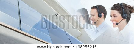 Digital composite of Happy business people making calls