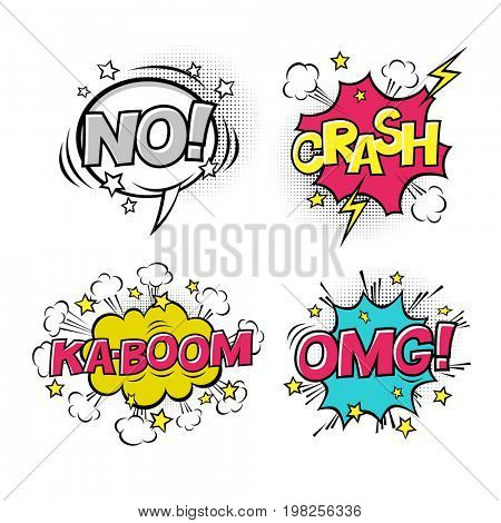 Comic speech bubbles set with different emotions and text KA-BOOM, OMG, NO, CRASH.  raster cartoon illustrations isolated on white background. H