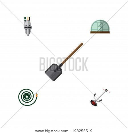 Flat Icon Garden Set Of Grass-Cutter, Pump, Shovel And Other Vector Objects