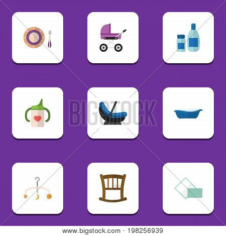 Flat Icon Kid Set Of Bathtub, Infant Cot, Nursing Bottle And Other Vector Objects