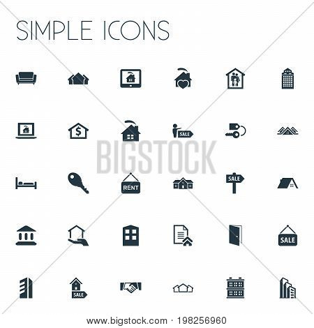 Elements Advertising, Glass Tower, Comfort And Other Synonyms Lock, Monitor And Broker.  Vector Illustration Set Of Simple Property Icons.