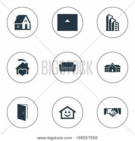 Elements Smiley Casa, Partnership, Residence And Other Synonyms Heart, Residence And Cottage.  Vector Illustration Set Of Simple Real Icons.