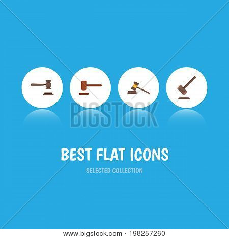 Flat Icon Court Set Of Legal, Court, Tribunal And Other Vector Objects