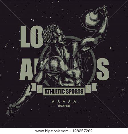 T-shirt or poster design with illustration of vintage sportsman