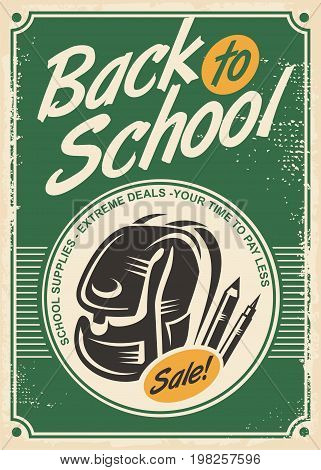 Back to school sale retro advertisement with school bag and pencils on old paper background. Vintage poster design for school supplies shop. Vector illustration.