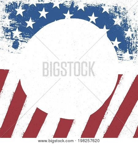 American flag patriotic background. US flag with  circle blank space for text. US patriotic design template. American stars and stripes background.