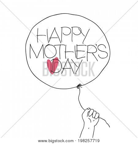 Child hold the thread of balloon with greeting text and heart sign.  raster illustration of outline sketch Mother's day with hand-drawn text and red heart on balloon.