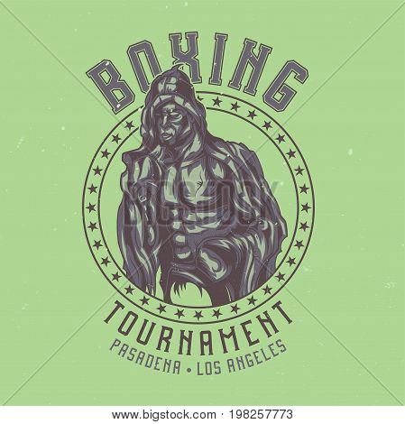 T-shirt label design with illustration of box fighter