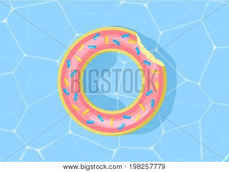 Donut Pool Float. Water Texture. Vector Illustration. Pool Water