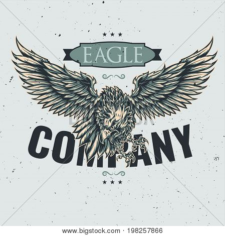 T-shirt or poster design with illustration of eagle.