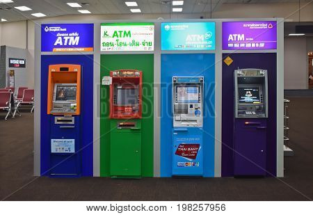 BANGKOK, THAILAND - MARCH 05, 2017 : Many cash machine or ATM for Thai people and foreigner travelers make a withdrawing at Don Mueang international airport on March 5, 2017 in Bangkok, Thailand