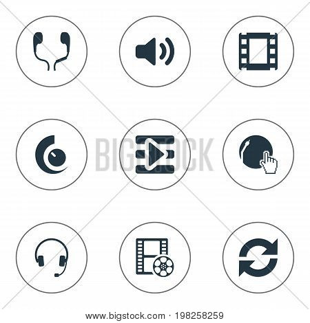 Elements Noisiness, Refresh, Partymaker And Other Synonyms Earmuff, Volume And Partymaker.  Vector Illustration Set Of Simple Music Icons.