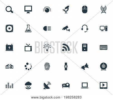 Elements System Unit, Broadcast, Bulb And Other Synonyms Processor, Mouse And Dipped.  Vector Illustration Set Of Simple Device Icons.