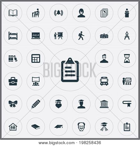 Elements Student, Interactive Lesson, Tribune And Other Synonyms Book, Cap And Learning.  Vector Illustration Set Of Simple Knowledge Icons.