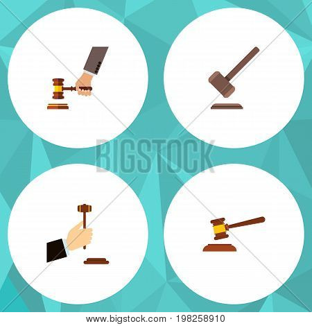 Flat Icon Hammer Set Of Hammer, Tribunal, Law And Other Vector Objects