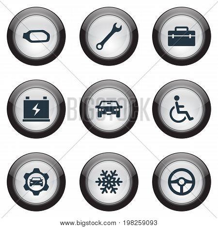 Elements Snowflake, Accumulator, Side Mirror And Other Synonyms Cogwheel, Sedan And Charger.  Vector Illustration Set Of Simple Automobile Icons.