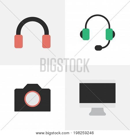 Elements Headphone, Photo Apparatus, Screen And Other Synonyms Screen, Headset And Photo.  Vector Illustration Set Of Simple Instrument Icons.
