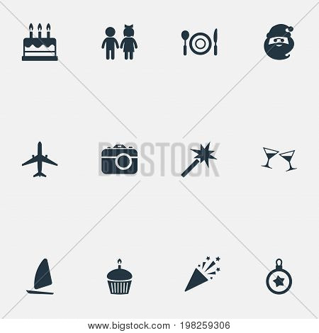 Elements Photo Camera, Entertainment, Yachting And Other Synonyms Anniversary, Cupcake And Spell.  Vector Illustration Set Of Simple Vacation Icons.