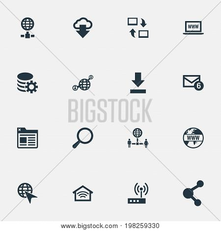 Elements Website, Processing, Networking And Other Synonyms Spreading, World And Mail.  Vector Illustration Set Of Simple Internet Icons.